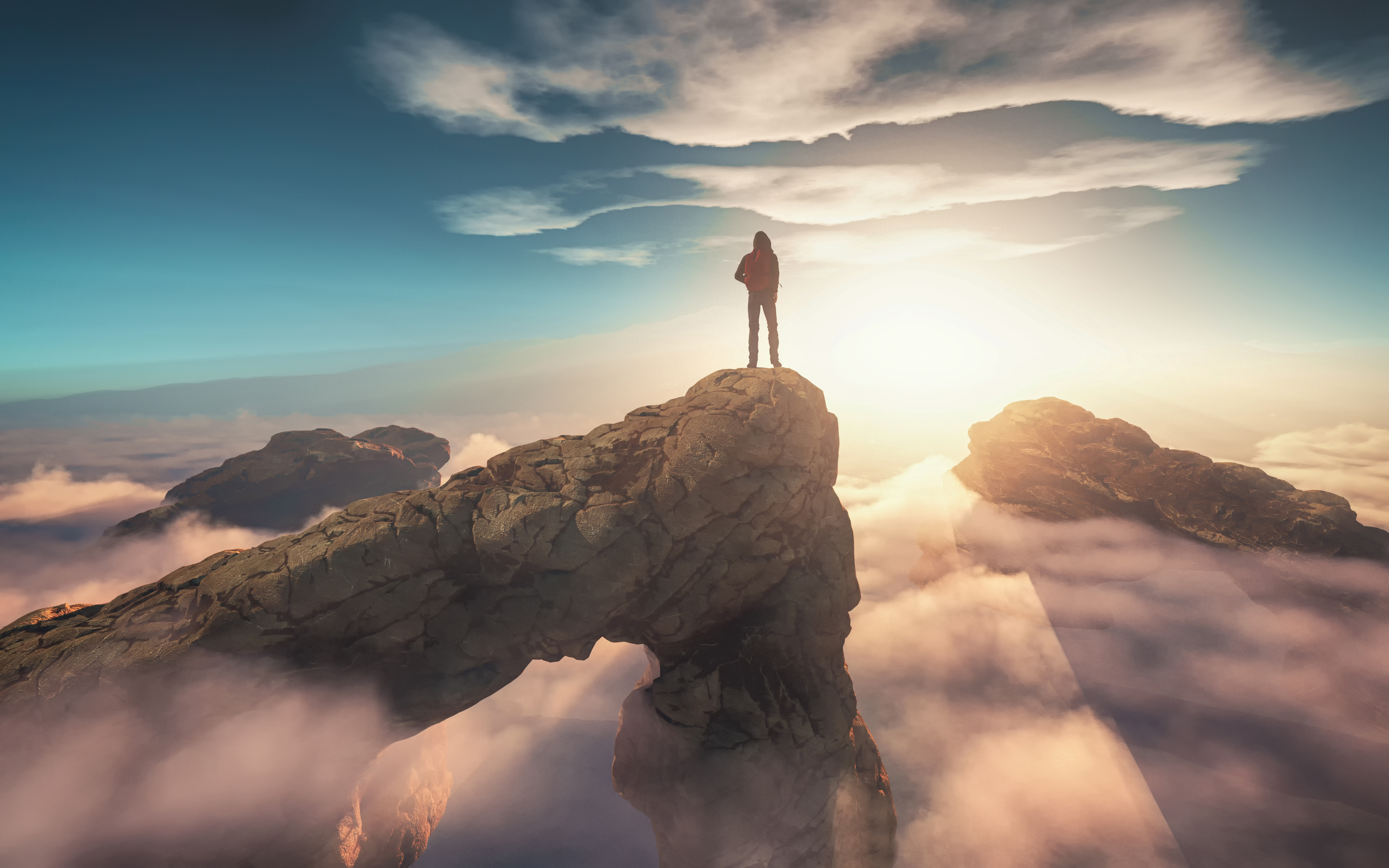 Traveler with a backpack standing on a mountain peak above clouds. 3d render illustration